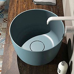 Countertop circular washbasin produced 100 % in Italy, Lallio