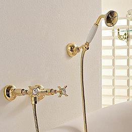 Classic Design Shower Mixer in Brass Made in Italy - Katerina