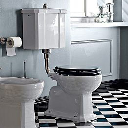 Floor-mounted WC with Ceramic Cassette and Made in Italy Black Seat - Marwa