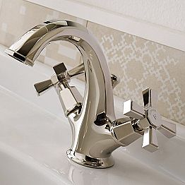 Single-Hole Design Basin Mixer in Brass Made in Italy - Silvana