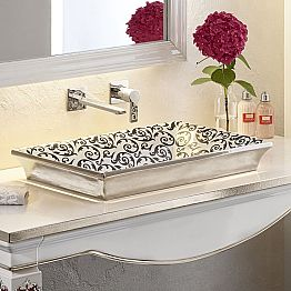Semi-recessed sink hand decorated in fire clay made in Italy, Guido
