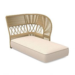 Outdoor Chaise Longue Sofa in Rope and Fabric - Cliff Decò by Talenti