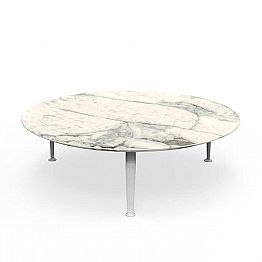Round Garden Coffee Table in Calacatta Stoneware and Aluminum - Cruise by Alu Talenti