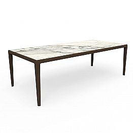 Outdoor Design Table in Teak Wood and Capraia Stoneware - Cruise Teak Talenti