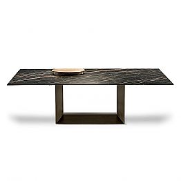 Extendable Dining Table in Ceramic and Metal Made in Italy - Dark Brown