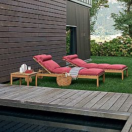 Garden sunbed with wheels made of teak wood Barcode by Varaschin