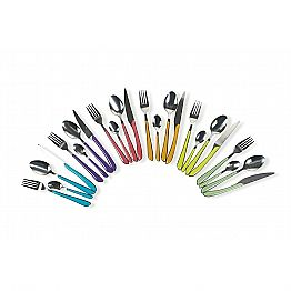 Service of Colored Cutlery 24 Pieces in Steel and Plastic Design - Algeria