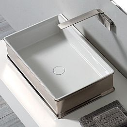 Modern design countertop ceramic washbasin made in Italy Debora