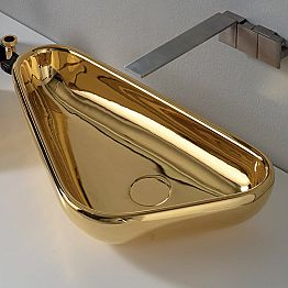 Modern countertop washbasin in golden ceramic made in Italy Sofia