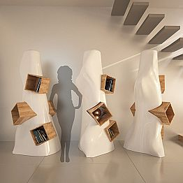 Modern design bookcase K2, Solid Surface & wood, handmade in Italy